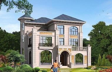 欧式三层复式别墅设计图,占地192平方米,造价50万左右