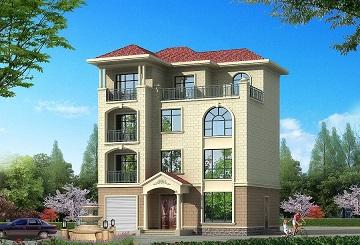 占地124㎡四层自建房屋设计图,三楼带有厨房,可两户同时居住
