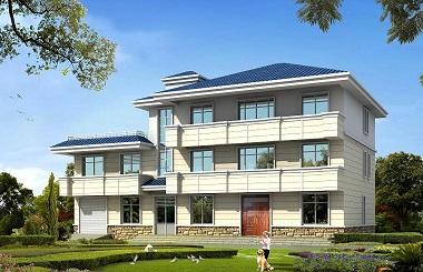 占地265平方米的三层自建房屋设计图,带有室内车库,房间数量较多