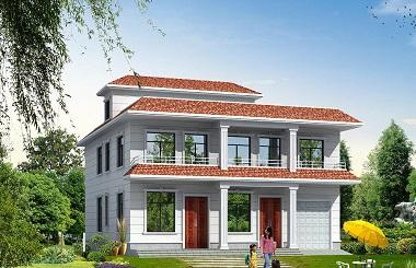 占地250平方米二层平顶自建房屋设计图,带有室内车库,适合做民宿