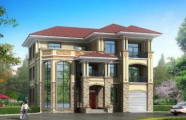 占地二百多平的三层欧式复式别墅设计图,带有室内车库