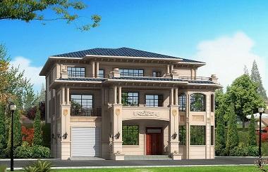 欧式三层复式自建别墅设计图,布局完善,带有室内车库和大面积露台