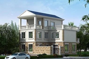 温馨美观的欧式三层自建别墅设计图,带小面积的院子
