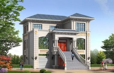 高端欧式三层自建别墅设计图,端庄宏伟带有室内车库