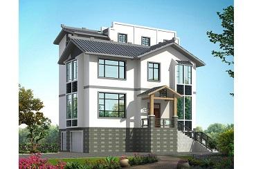 中式三层自建房屋设计图,带有地下室,配套庭院设计