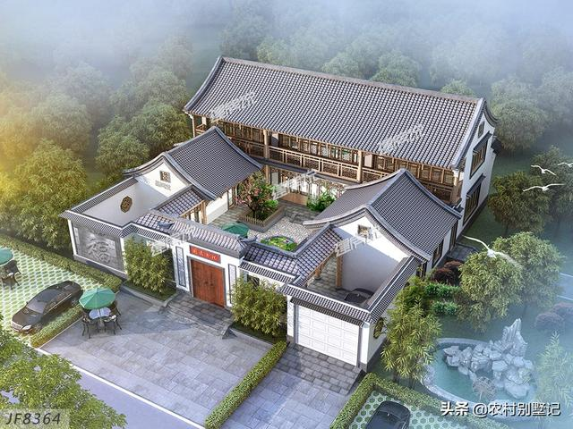 这一款最美中式四合院,典雅大气,成为大多数人的建房首选!