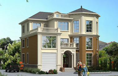 带有室内车库的三层欧式复式别墅设计图,14.64m*12.64m,轩鼎出品