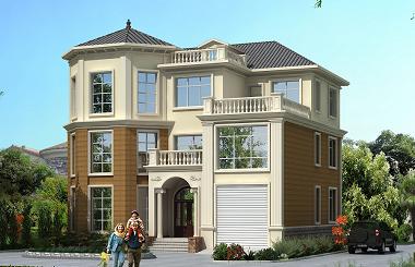 非常实用的一款古典欧式自建别墅设计图,户型经典,带有室内车库