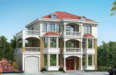 占地200平方米,造价50万左右有的三层自建房屋设计图,带有室内车库