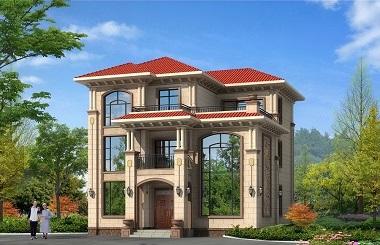 欧式三层复式别墅设计图,占地130平方米左右,精致美观