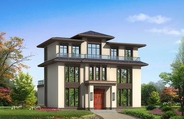 新中式三层自建别墅设计图,带有大面积露台
