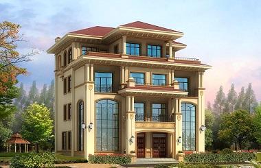 宏伟大气的一款四层自建双拼别墅设计图,总占地面积193平方米