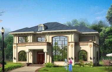 中等面积的二层欧式小别墅设计图,美观精致,经济实用