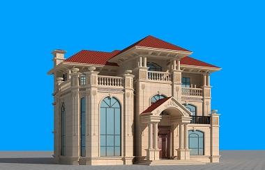 欧式三层复式自建别墅设计图,带有鸟瞰庭院效果图,多个角度效果图