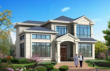 一款高端大气的二层别墅设计图,13.5*12m,造价33万左右