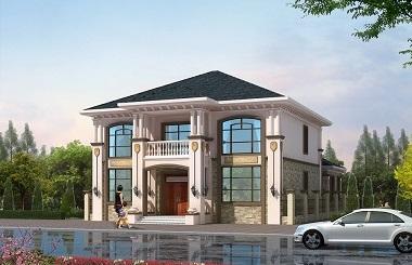 精致的欧式二层自建房屋设计图,带有庭院设计,高端大气