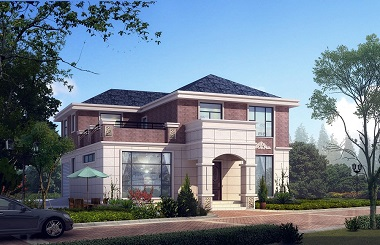 古典二层自建房屋设计图,带有室内车库,高端大气