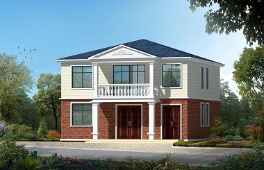 农村自建二层房屋设计图,含多个角度效果图