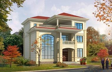 欧式复式三层自建房屋设计图,12*12,小户型,布局完善