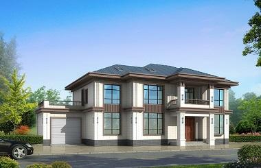二层中式自建别墅设计图,带有室内车库