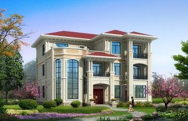欧式高端三层复式别墅设计图,占地160平方米,豪华自建房屋