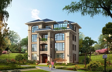 14.5*17m四层自建房屋设计图,带有玻璃阳光房,居住舒适