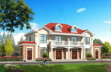经典二层双拼别墅设计图,单户造价20万左右