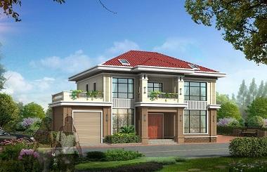 带有室内车库的二层田园小别墅设计图,造价30万左右,轩鼎原创出品