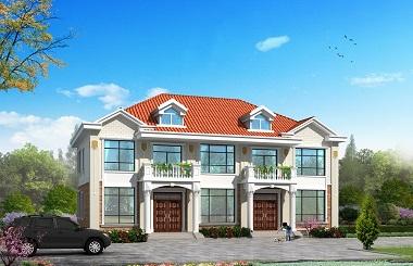 布局完善采光良好的二层双拼别墅施工图,单户造价20万左右