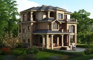 高端三层自建别墅设计图,造价50万左右,配色经典,古色古香