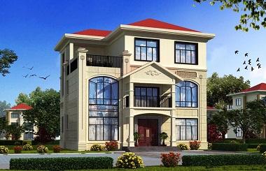 精品欧式三层自建别墅设计图,含多个角度效果图