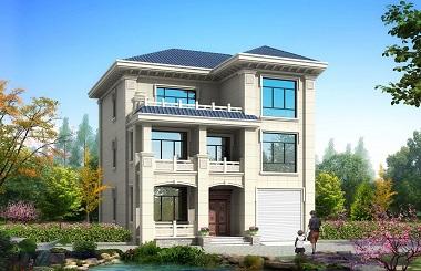 农村三层自建别墅设计图,带有室内车库