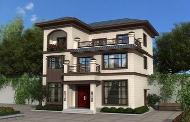 新中式三层自建别墅图纸,含全套完善施工图造价三十万左右的自建房屋