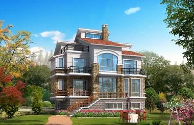 现代三层自建别墅设计施工图带有室内车库,建房首选