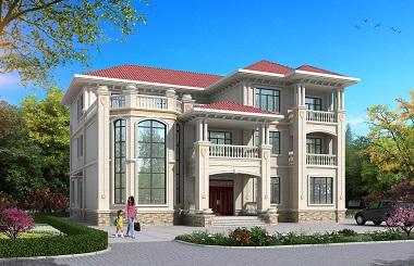 大气欧式三层复式别墅设计图,弧形楼梯,超大面积适合大家族居住