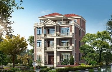 造价50万左右的红墙四层别墅设计图,独具特色的自家建房