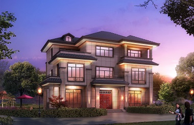 中式三层自建小别墅设计图,经典新中式自建房屋设计