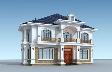 高端二层自建复式别墅设计图,带有庭院规划,经典欧式自建别墅