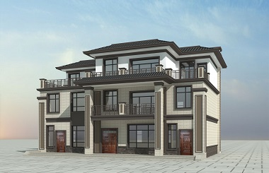 新中式两梯两户三层自建别墅设计图,美观实用