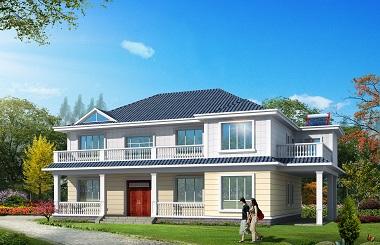 经典二层自建别墅设计图,简约二层自建房,带有车库