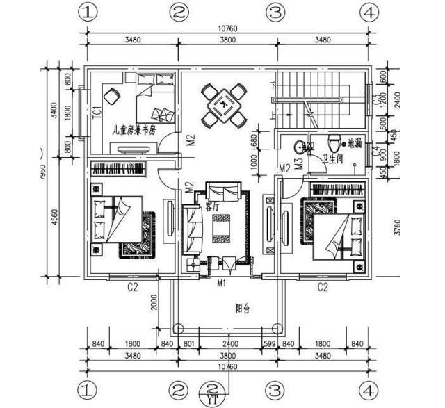90平方米的小别墅的设计图