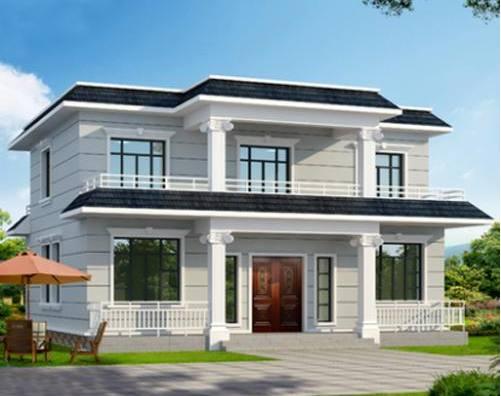 在乡村的二层别墅开一个12米的平顶房子,小院很漂亮!