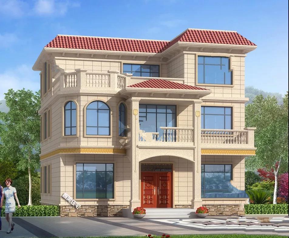 12×12.9米的平屋顶设计的乡村别墅,采光通风良好,而且整体成本相对比较经济!