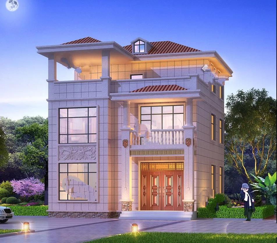 9.3×12米的乡村别墅设计,南北通透,主体造价30万元!具有简单欧式外观