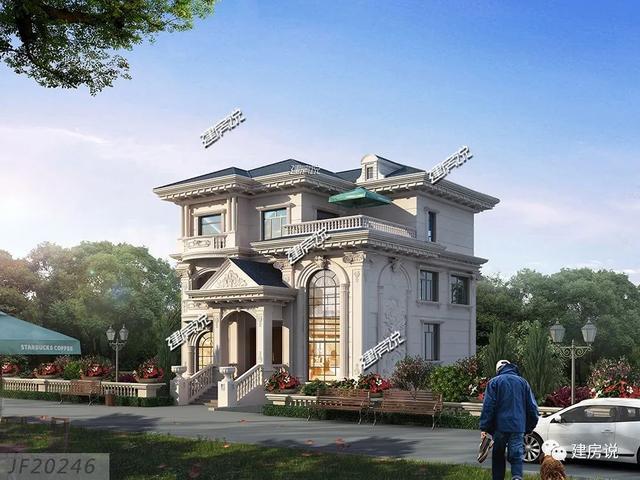 乡村建筑图纸:12米宽的欧式别墅证实了他们的眼睛,是家里有地位的人!