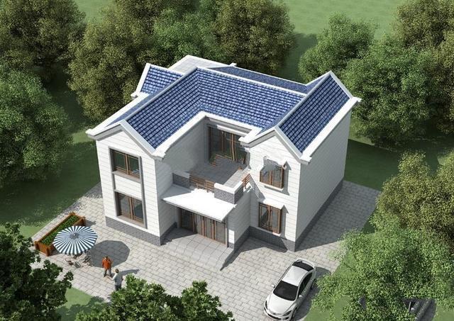 两层的乡村别墅设计图,6个房间和1个带书房的大厅,舒适的也有面子居住!